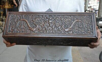 """20/"""" Old Chinese Huanghuali Wood Carved Dragon Totem Storage box Treasure chest"""