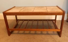 Vintage/ Retro Tiled Coffee Teak Table with Matching Tiled Nest of Tables