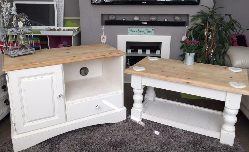 Beautiful Shabby Chic Tv Unit Stand Cabinet And Coffee Table Set