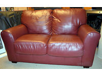 Two 2 seater Leather Settees in Dark Red /Burgundy