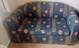 Sofa bed, 2 seater. Blue. Metal frame. Easy to pull out