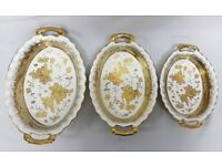 3PC GOLD CHINA SERVING TRAY SET WITH HANDLES