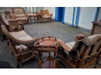 antique rattan wood garden furniture set