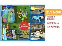 Garden toys, egg and spoon £2.50 £10 bubble stuff £6 folding scooter £5 spade £1 water gun £1 £20
