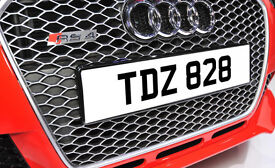 TDZ 828 Dateless Personalised Number Plate Audi BMW Ford Golf Mercedes Kia Vauxhall