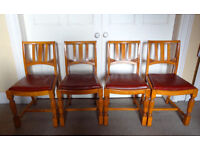 4 Matching Solid Oak and Leather Dining Chairs