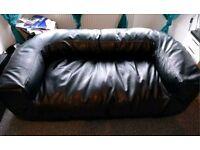 Black 2/3 seat faux leather bean bag sofa
