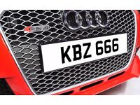 KBZ 666 Dateless Personalised Number Plate Audi BMW Ford Golf Mercedes Kia Vauxhall