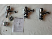 3 x Basin Taps, chrome finish with compression valve operation