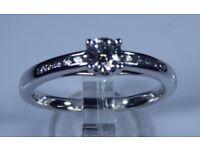 "IGI Certified ""LEO Diamond"" 18k White Gold .41ct Diamond Solitaire Accent Engagement Ring rrp £2,000"