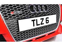 TLZ 6 Single Digit Dateless Personalised Number Plate Audi BMW Ford Golf Mercedes Kia Vauxhall