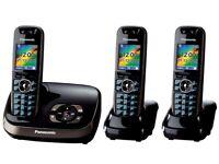 Panasonic KX-TG8523EB DECT Trio Digital Cordless Phone Set with Answer Machine - Black -Used