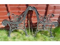 (#765) vintage pair of garden cast iron bench ends (Pick up only, Dy4 area)