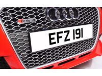 EFZ 191 Dateless Personalised Number Plate Audi BMW Ford Golf Mercedes Kia Vauxhall