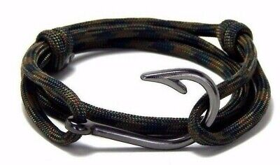 Nautical Fish Hook Bracelet Hand Made Men Women Fashion Jewelry Adjustable Camo