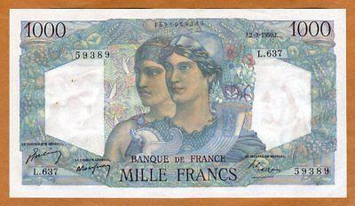 France, 1000 francs, 1950, P-130b, UNC