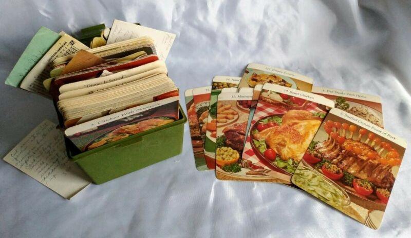 Vintage Recipe Box w/ RECIPES:1972 Promo Recipe Cards, Handwritten & Cutout [01]