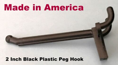 """(10 PACK) 2 Inch Black Plastic Peg Hooks for 1/8"""" to 1/4"""" Pegboard (Made in USA)"""