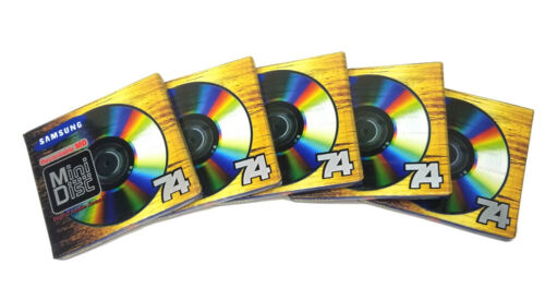5X Blank New MD74 Samsung Recordable Minidisc Each Factory Sealed in Shrink 5pcs