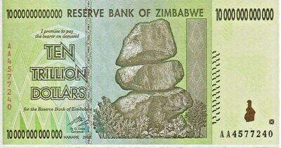 10 TRILLION ZIMBABWE DOLLAR AA UNCirculated 2008. MONEY CURRENCY.  [20 50 100]