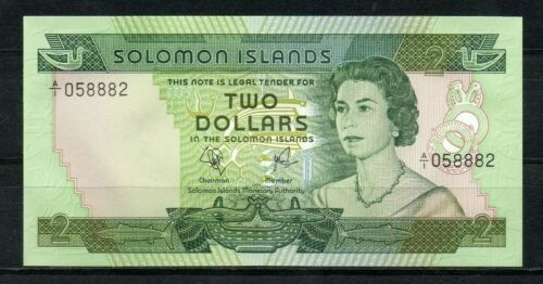 SOLOMON ISLANDS 2 Dollars 1977 UNC p~5 QEII