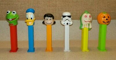 6 PEZ Candy Dispensers Kermit Donald Duck Lucy Storm Trooper Ghoul Pumpkin