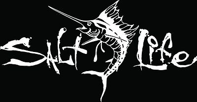 "SALT LIFE SAILFISH & SIGNATURE""WHITE"" Medium UV Rated Vinyl DECAL*FREE SHIPPING*"