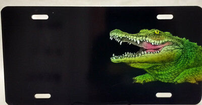 Croc/Gator on Black background manufactured airbrushed license plate -