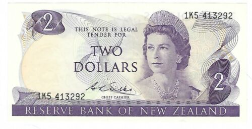 New Zealand -  Two (2) Dollars, 1968-75