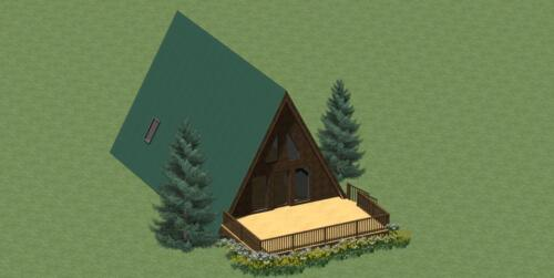 A-FRAME HOUSE PLANS 1344 SQ.FT. 2 BDRM WITH ENERGY SAVING CHECKLIST