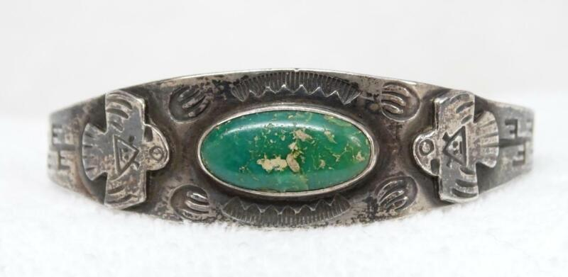 Fred Harvey Era Old Pawn Silver Turquoise Stampwork Eagle Cuff Bracelet