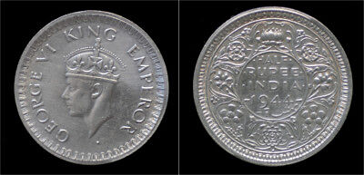 India King George VI half rupee 1944