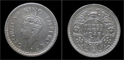 India King George VI 1/4 rupee 1945