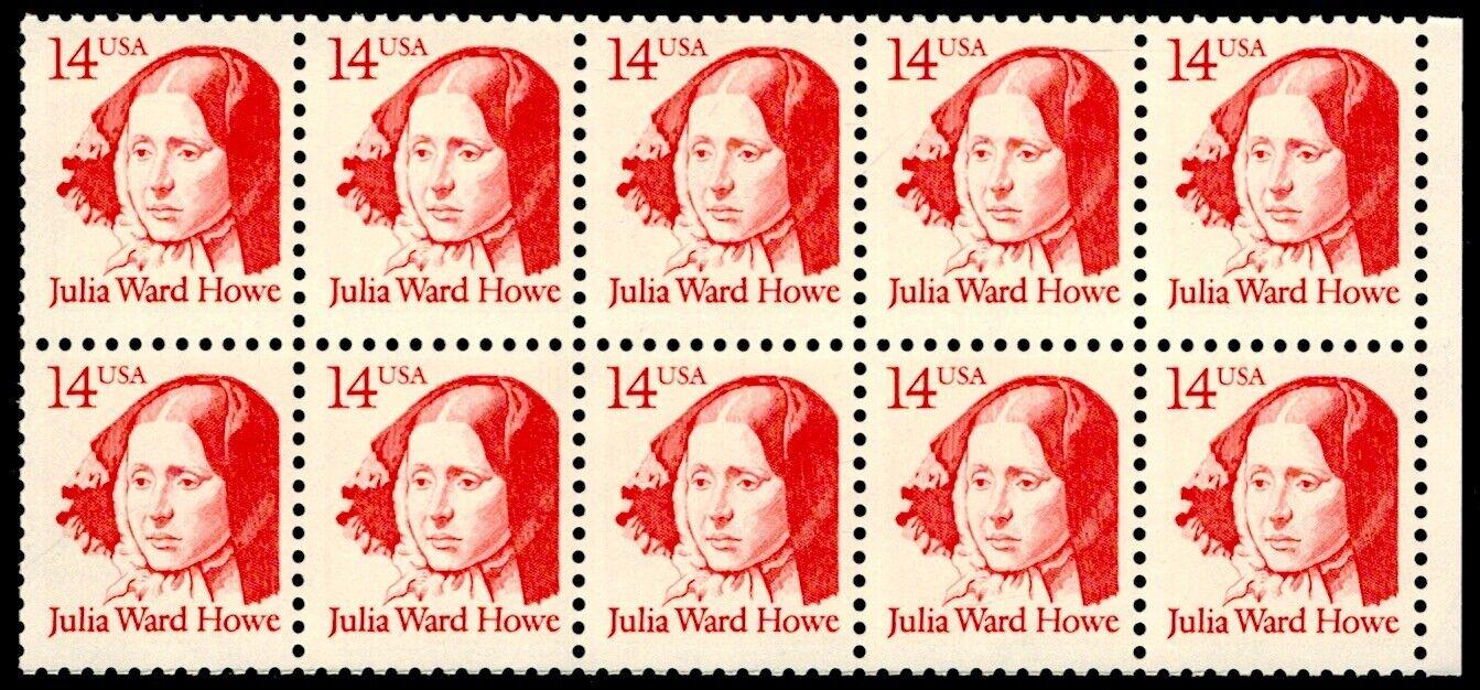 US Scott 2176 Block Of 10 Stamps MNH, Julia Ward Howe - $2.99