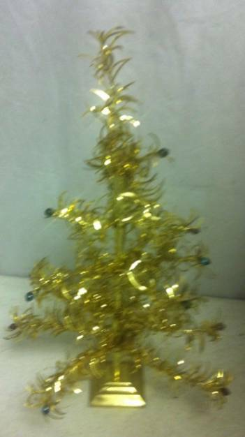 "Mid Century 14"" Bright Gold Tinsel Christmas Tree w Glass Balls Japan Wood Base"
