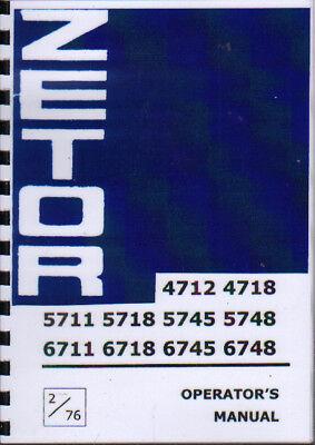 ZETOR 4712 4718 5718 5745 5748 6711 6718 6745 6748 Tractor Operator's Manual na sprzedaż  Wysyłka do Poland