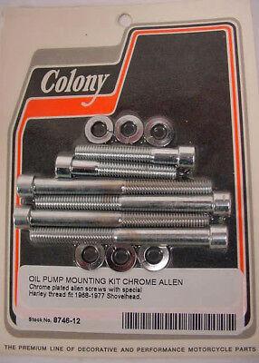 CHROME ALLEN BOLT OIL PUMP MOUNT KIT Harley Shovelhead Chrome Oil Pump