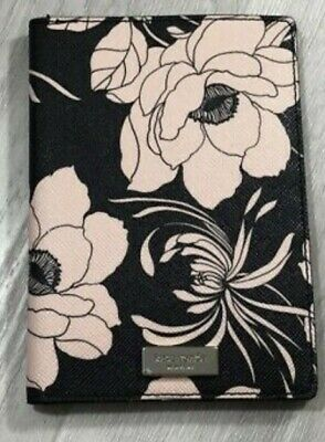 Kate Spade Imogene Laurel Way Gardenia Black Floral Passport Holder Wallet