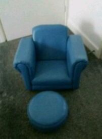 Blue chair and stool