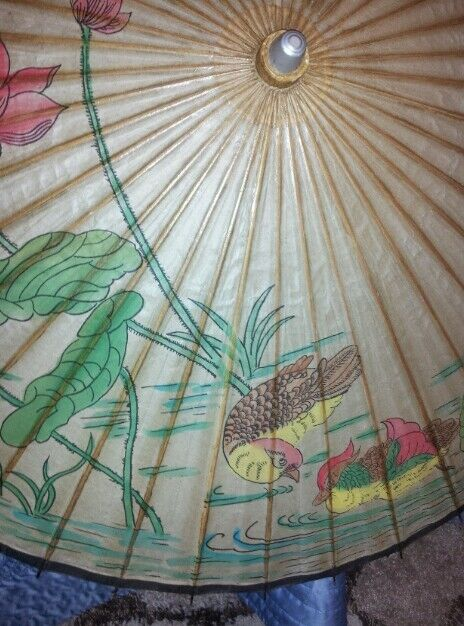 NOS Antique Chinese Parasol - Rice Paper & Bamboo - lotus birds MINT! Reduced!!