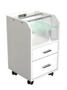 GLASGlOW WHITE Rolling Pedicure Trolley Cart Storage Cabinet w/ Pipes Glass Top
