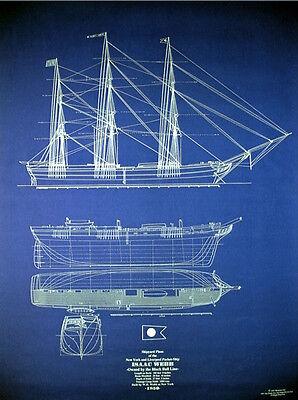 Ships Plan Vintage Sailing Ship Isaac Webb 1850 Blueprint Drawings 24x34  (041)