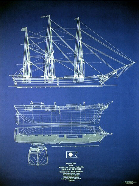Ships Plan Vintage Sailing Ship Isaac Webb 1850 Blueprint Drawings 24x34  (041)