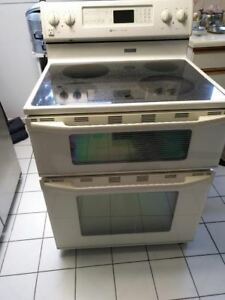 Maytag    glass top with double Oven Stove