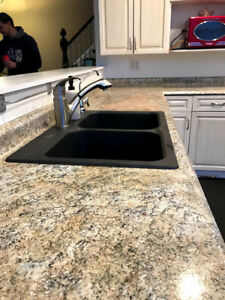 Dark granite Blanco double sink with tap