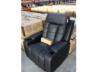 NAPOLI DUAL MOTOR MASSAGE AND HEATING LIFT CHAIR IN MATT BLACK FAUX LEATHER -NEW