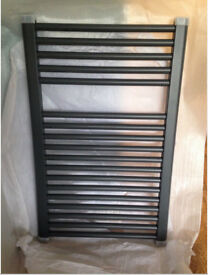 Brand new Milano Brook - Anthracite Flat Heated Towel Rail 800mm x 500mm