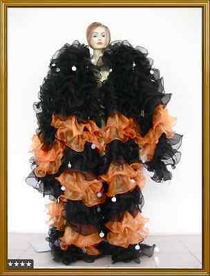 HALLOWEEN ORANGE BLACK Drag queen Ruffle Coat COSTUME