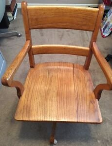 Antique Oak Swivel Office Desk Arm Chair