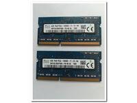 HYNIX LAPTOP NETBOOK NOTEBOOK COMPUTER PC RAM MEMORY PAIR 2 X 4GB 8GB DDR3 1600 MHZ PC3 12800 £35